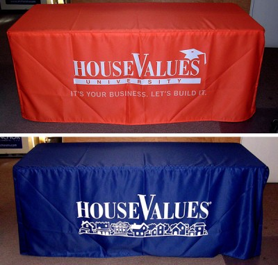 custom fitted table throws on tri-poly fabric material (dye sublimation)