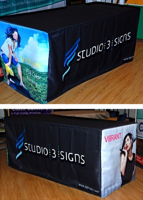 full color custom fitted table throws on tri-poly fabric material (dye-sublimation)